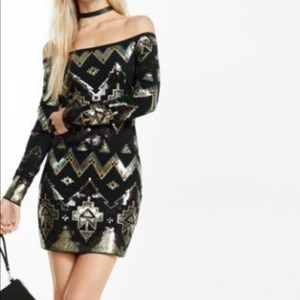 NWT express sequin body con off shoulders